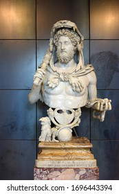 Rome, Italy - January 18, 2020: masterpiece of antique art, marble bust of roman emperor Commodus as Hercules in the Capitoline Museum, Rome, Italy