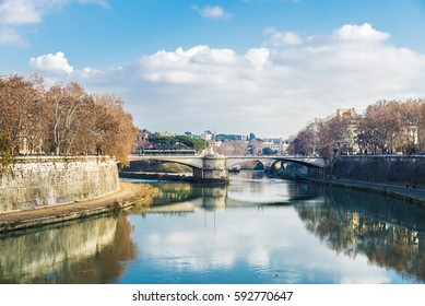 Rome, Italy - January 2, 2017: Bridge over the Tiber river passing through Rome, Italy