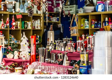 ROME, ITALY - JANUARY 2, 2019: sunlight is enlightening items for sale  in Housewares shop in Italy