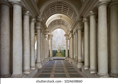 Rome, Italy - January 20 2016: The Palazzo Spada is a palace in the historic centre of Rome, Italy. Borromini created the masterpiece of forced perspective optical illusion in the arcaded courtyard