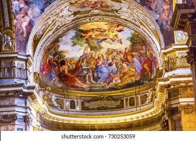 ROME, ITALY -  JANUARY 20, 2017 Jesus Teaching Fresco Santa Maria Maddalena Church Rome Italy.  Church named for Saint Mary Magdalene, built in the 16 and 1700s, fresco by Carlos Fontana in 1700s