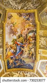 ROME, ITALY -  JANUARY 20, 2017 Jesus Fresco Ceiling Santa Maria Maddalena Church Rome Italy.  Church named for Saint Mary Magdalene, built in the 16 and 1700s, fresco by Carlos Fontana in 1700s