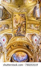 ROME, ITALY -  JANUARY 20, 2017 Jesus Fresco Ceiling Dome Santa Maria Maddalena Church Rome Italy.  Church named for Saint Mary Magdalene, built in the 16 and 1700s, fresco by Carlos Fontana in 1700s