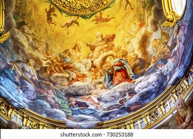 ROME, ITALY -  JANUARY 20, 2017 Jesus God Father Fresco Ceiling Dome Santa Maria Maddalena Church Rome Italy.  Church named for Saint Mary Magdalene, built in 1700s, fresco by Carlos Fontana in 1700s