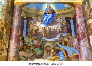 ROME, ITALY -  JANUARY 20, 2017 Mary Angels Fresco Trinita Dei Monti Church Spanish Steps Rome Italy. Chruch built in 1585.  Assumption of Virgin Mary by Michelangelo pupil, Daniele Volterra in 1500s