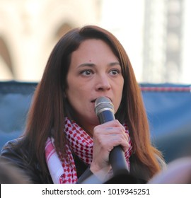 ROME, ITALY- JANUARY 20, 2018: Actress Asia Argento speaks about her sexual abuse by Harvey  Weinstein at The Women's March on Rome in Rome, Italy on January 20, 2018.