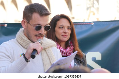 ROME, ITALY- JANUARY 20, 2018: Neal Hudson-Cosset introduces Harvey Weinstein victim, actress Asia Argento, at The Women's March on Rome in Rome, Italy on January 20, 2018.