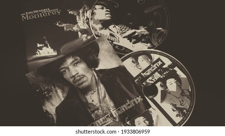 Rome, Italy - January 20, 2021, cd The Jimi Hendrix Experience first group headed by the Great Jimi Hendrix, bassist Noel Redding, drummer Mitch Mitchell and cd Live at Monterey posthumous live album.