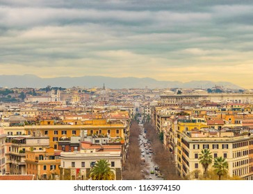 ROME, ITALY, JANUARY - 2018 - Aerial cityscape view of rome city from vatican museum viewpoint.