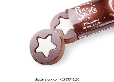 Rome, Italy - January 22 2020: Biscocrema Pan di Stelle Barilla. Chocolate biscuits with hazelnut and cocoa cream isolated on white background, closeup.