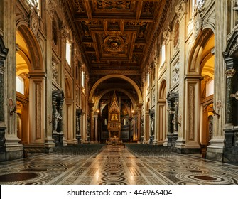 ROME, ITALY - JANUARY 23 2015: Papal Archbasilica of St. John in Lateran or just The Lateran Basilica, is cathedral church of Rome and official episcopal seat of Bishop of Rome, the Roman Pontiff.