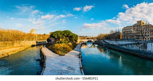 ROME, ITALY - JANUARY 26 2016: Tiber Island is only island in Tiber river which runs through Rome. Tiber island is located in southern bend of Tiber.
