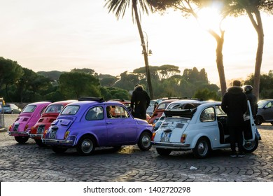 Rome, Italy - January 26 2019: colorful fiat 500 cars lined up in Rome.