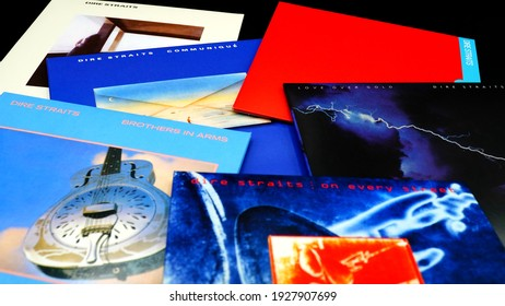 Rome, Italy - January 26, 2021: Artwork of the cd collection by DIRE STRAITS. British rock group founded in 1977 by Mark Knopfler. Their music is characterized by different musical styles