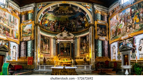 ROME, ITALY - JANUARY 27 2016: Basilica of Sts. Vitalis (San Vitale), Valeris, Gervase and Protase is titular minor basilica church. Roman Catholic church is commonly named Basilica di San Vitale.