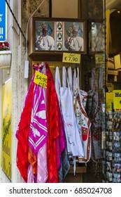 ROME, ITALY - JANUARY 27, 2017: Souvenir shop in Ottaviano street.