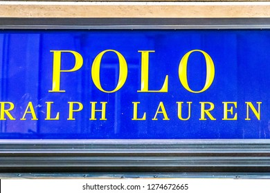 ROME, ITALY - JANUARY 3, 2019: lights are enlightening  POLO RALPH LAUREN logo on storefront at night