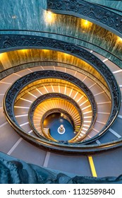 ROME, ITALY - JANUARY 30, 2017: Famous spiral staircase in Vatican Rome, Italy.