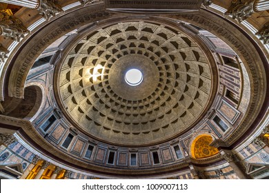 ROME, ITALY - JANUARY 4, 2018: Pantheon in Rome, Italy . Pantheon was built as a temple to all the gods of ancient Rome, and rebuilt by the emperor Hadrian about 126 AD.
