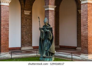 ROME, ITALY - JANUARY 4, 2019: sun light is enlightening Saint Anselm of Canterbury church