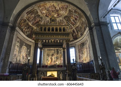 Rome, Italy - January 5, 2017: Interior of the San Pietro in Vincoli church in Rome, Italy. In this church is the famous marble statue of Moses