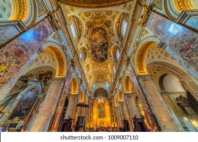 ROME, ITALY - JANUARY 5, 2018: Ceiling view of the Church of San Luigi dei francesi, near Piazza Navona, Rome. This church is famous for the Paintings of Caravaggio