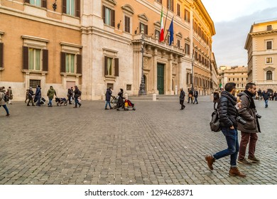 ROME, ITALY - JANUARY 5, 2019: tourists are walking in  Piazza Montecitorio in Rome