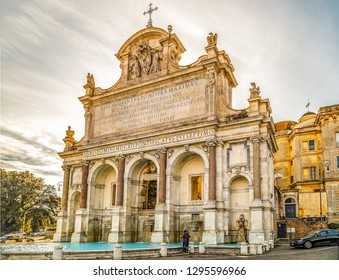 ROME, ITALY - JANUARY 5, 2019: tourists visiting monumental fountain of Paola water on the Janiculum Hill