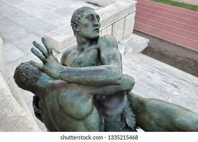 ROME, ITALY -JANUARY 5 2019: Lottatori, two large bronze of wrestlers by Aroldo Bellini at the Marble Stadium sport stadium in the Foro Italico