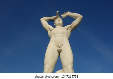 ROME, ITALY -JANUARY 5 2019: Statue of a naked  sporty man in the Marble Stadium sport stadium in the Foro