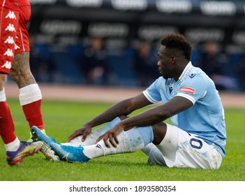 Rome, Italy, January 6, 2021. LazioÕs Felipe Caicedo sits on the pitch during the Serie A soccer match between Lazio and Fiorentina at the Olympic Stadium.