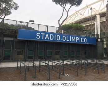 Rome, Italy - January 7, 2017: Stadio Olimpico signage. The Stadio Olimpico is the main and largest sports facility of Rome, located within the Foro Italico sports complex