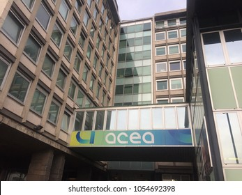 Rome, Italy - January 8, 2018: Acea headquarters in piazzale Ostiense. Acea Azienda Comunale Energia e Ambiente SpA is an Italian energy and water supply company