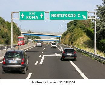ROME, ITALY - JUL 29, 2013: Traffic on Italian Autostrada (highway, motorway) near Rome in Lazio, Italy