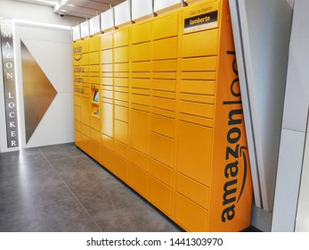 Rome, Italy - July, 01 219, Amazon locker for parcel collection.
