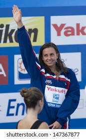 ROME, ITALY - JULY 02 2009; Rome Italy; Rebecca Soni (USA) silver medal winner  for the womens 50m breaststroke at the 13th Fina World Aquatics Championships held in the The Foro Italico Swimming Complex.