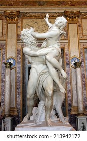 Rome, Italy - July 02: baroque marble sculptural group by Italian artist Gian Lorenzo Bernini, Rape of Proserpine on July 02, 2014, Galleria Borghese, Rome, Italy