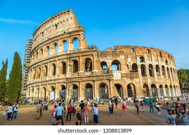 ROME, ITALY - JULY 11, 2014:  The Colosseum is a main tourist attraction in Rome in a summer day in Italy on July 12, 2014