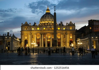ROME, ITALY- JULY 11, 2017: View of Saint Peter`s Basilica, Vatican city, Rome, Italy