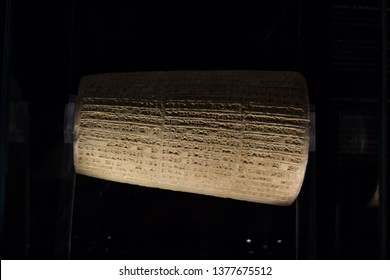 Rome, Italy - July 11 2018: Ancient inscribed stone cylinder