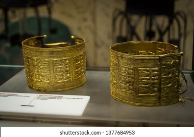 Rome, Italy - July 11 2018: Ancient gold bracelets