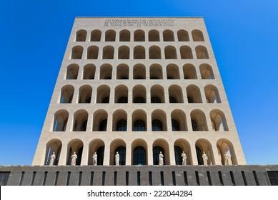ROME, ITALY - JULY 14 2012: Facade of the Palazzo della Civilta Italiana located in the roman district of EUR.