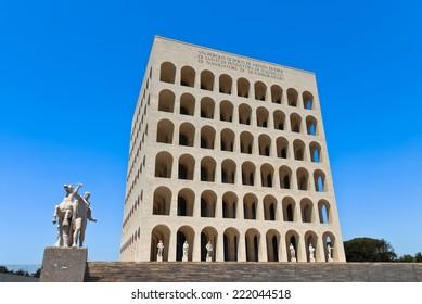 ROME, ITALY - JULY 14 2012: Perspective of the Palazzo della Civilta Italiana located in the roman district of EUR.