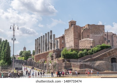ROME, ITALY - JULY 14: Temple of Venus and Roma on July 14, 2019. The Temple of Venus and Roma have been the largest temple in Ancient Rome. It was dedicated to the goddesses Venus and Roma Aeterna.