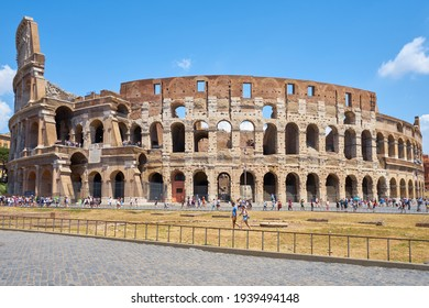 Rome, Italy - july 16, 2017:  Ancient Roman Colosseum is one of main tourist attractions in Europe. Scenic view of Colosseum ruins in summer.