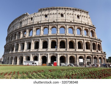 ROME, ITALY - JULY 17:  The famous Roman Colosseum with levels of seating on July 17, 2015, Rome, Italy. It is the largest amphitheater ever built  of concrete and stone