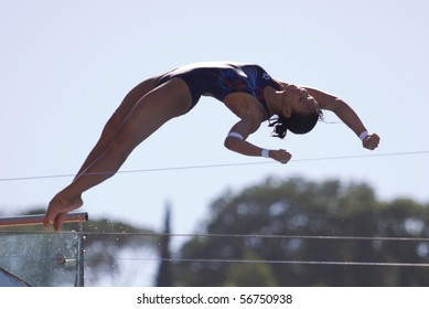 ROME, ITALY - JULY 18 : Malaysian Pandelela Rinong Pamg competes during the diving Women's 10m final on July 18, 2009 at the FINA World Championships in Rome. Paola Espinosa from Mexico won gold.