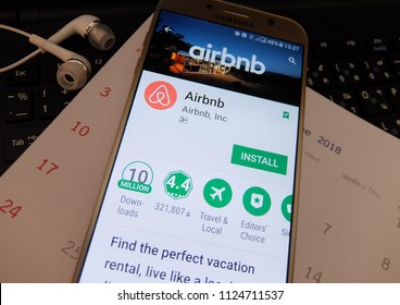 Rome, Italy. July 2, 2018: airbnb application on smartphone screen. airbnb app is for people to rent short-term lodging.