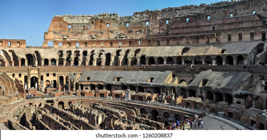 ROME, ITALY - JULY, 2017. Inside the Colosseum ( Coliseum, Colosseo ,also known as the Flavian Amphitheatre )