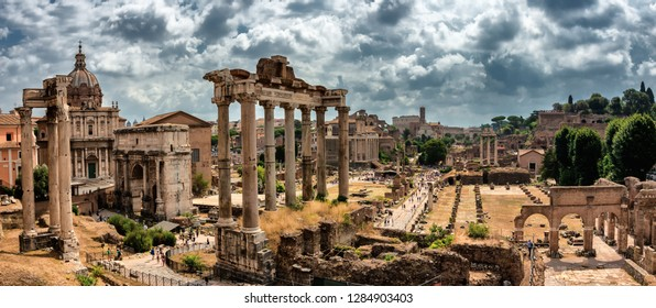 ROME, ITALY - JULY 2017: Roman Forum (Foro Romano) view from the viewpoint. Antique Rome city, Italy
